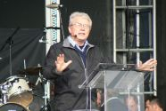 Luis Palau speaks to the crowds at Inverness' Bught Park as part of ...