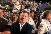 President-elect Juan Manuel Santos arrives to his victory rally after ...