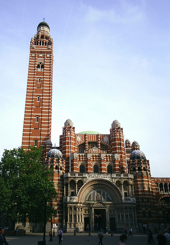 An external view of Westminster Cathedral, in central London.