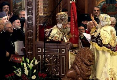 Pope Tawadros II, 60, sits on the throne of St Mark, the Coptic ...