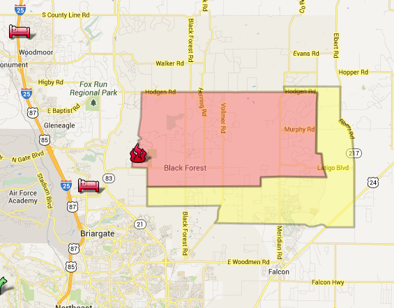 Black Forest Fire evacuation MAP