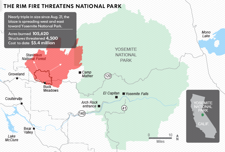 Fire Map Yosemite.Yosemite Fire Map Update 2013 Evacuation Advised For Residents