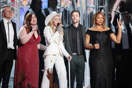 Macklemore, Mary Lambert, Madonna, Ryan Lewis and Queen Latifah perform at the 56th Grammys