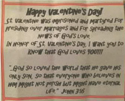 Lawsuit filed after teacher throws away childs Valentines Day