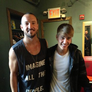 Hillsong NYC church Pastor Carl Lentz is pictured with Justin Bieber