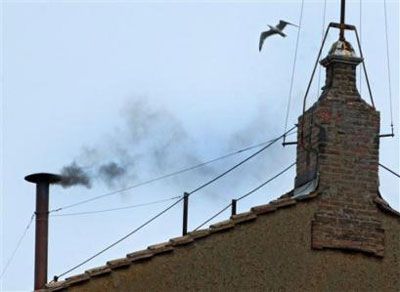 A seagull flies over the chimney of the Sistine Chapel, where black ...