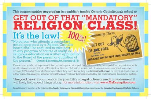 Secular Ontario's Get Out of Jail Coupon for Catholic High School Students