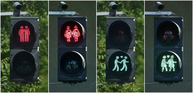 gay-themed traffic lights