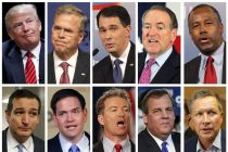 Donald Trump leads 9 other GOP hopefuls in first prime-time TV presidential debate