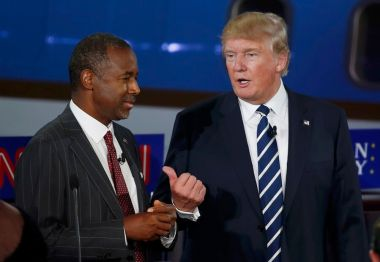 Ben Carson with Donald Trump during 2nd GOP debate