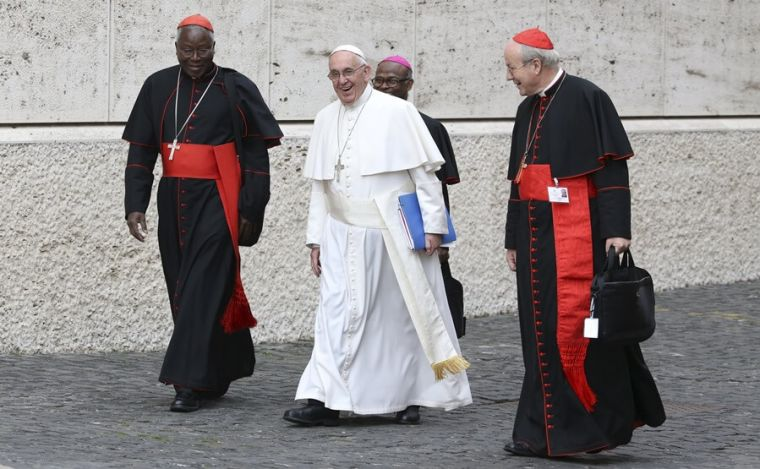 Pope Francis with cardinals at Synod
