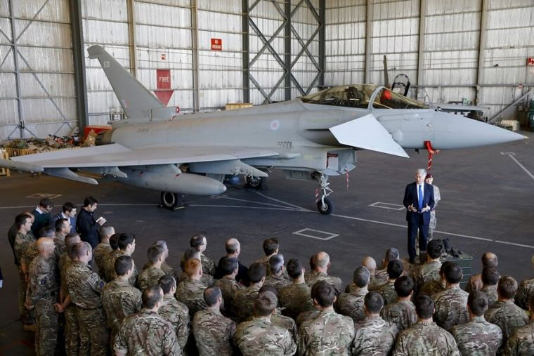 British Royal Air Force pilots with Michael Fallon