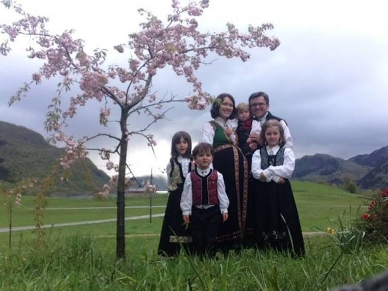 Norwegian Christian couple Marius and Ruth Bodnariu with their children