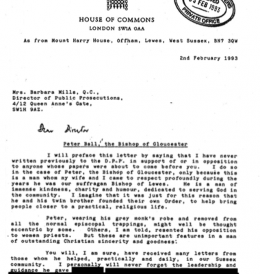 Tim Renton letter in support of Peter Ball