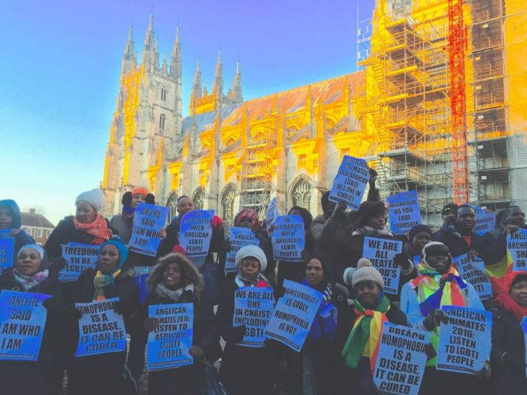LGBTI protestors outside Canterbury Cathedral