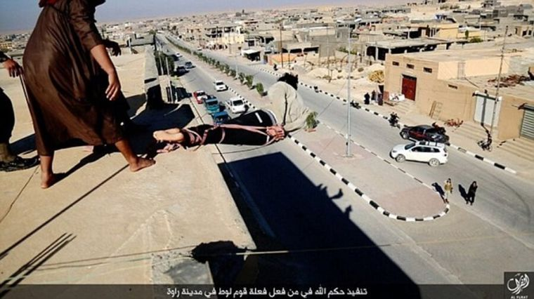 ISIS rooftop execution of accused homosexual