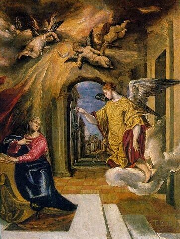 Angel Gabriel with Mary in The Annunciation
