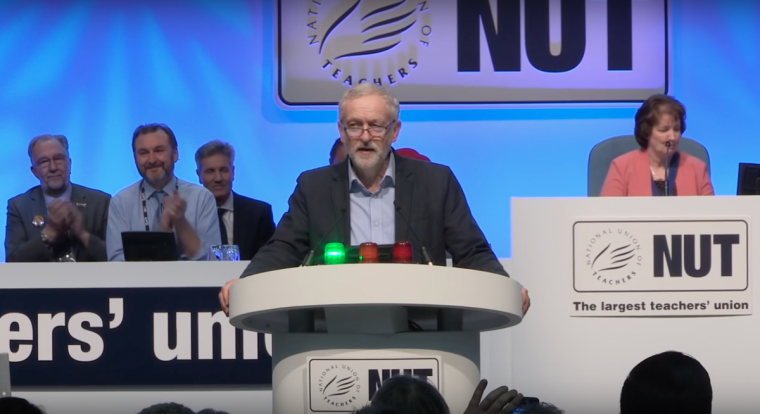 Jeremy Corbyn addresses National Union of Teachers