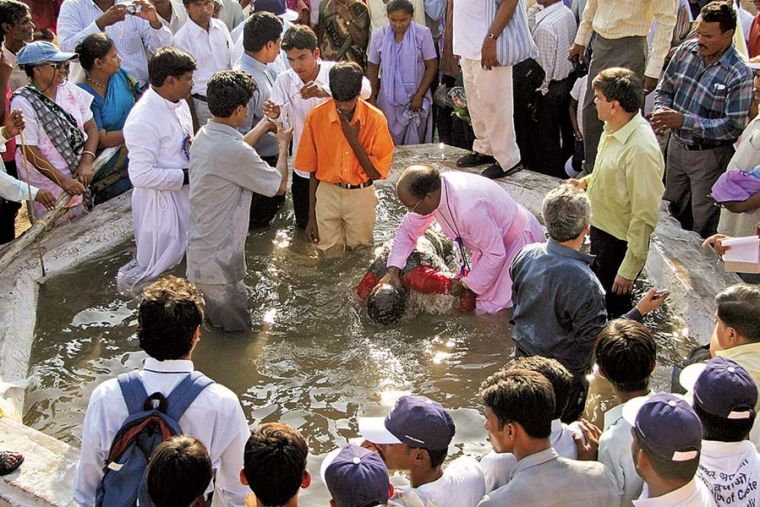 Baptism of new Christian converts in India