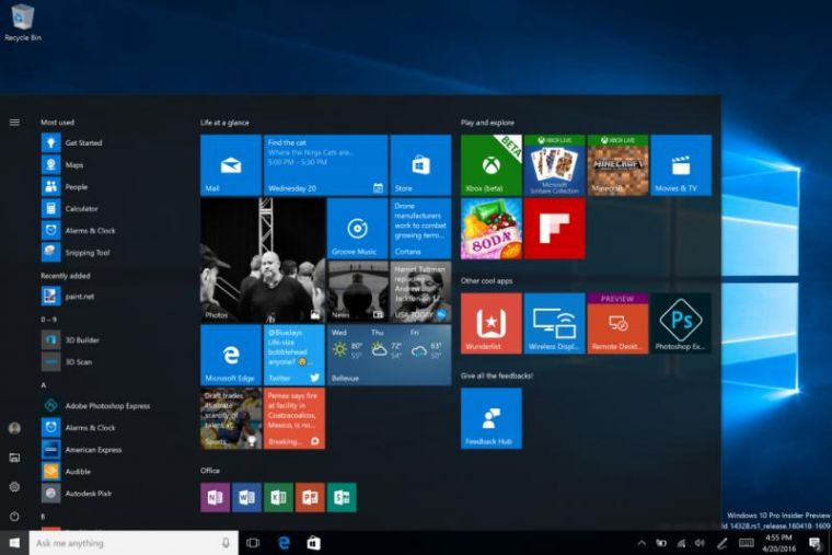 Windows 10 updated Start menu on Build 14328