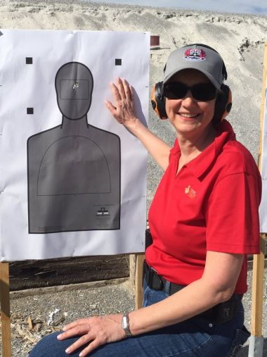 Anita Staver at a shooting range