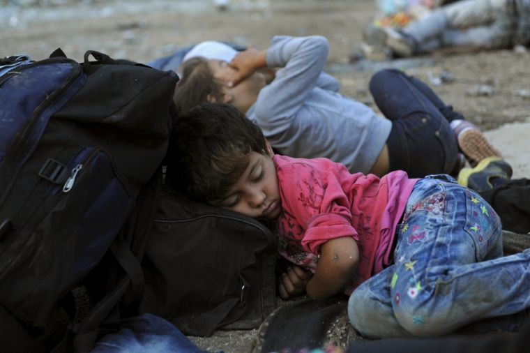 Refugee girl close to the borders of Greece with Macedonia