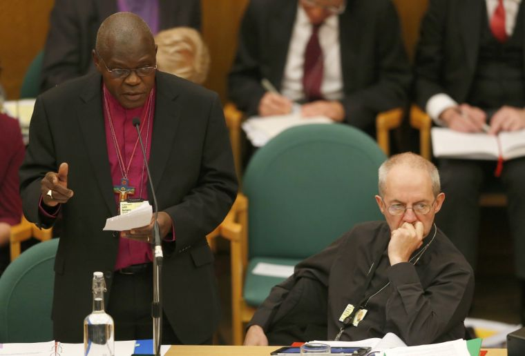 The Archbishop of York and Archbishop of Canterbury at an earlier meeting of the General Synod of the Church of England.