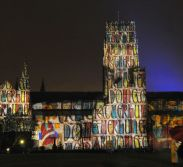 pages-from-the-lindisfarne-gospels-projected-onto-durham-cathederal-in-durham