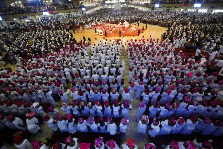 Worshippers at a mega church outside Nigeria's capital Lagos