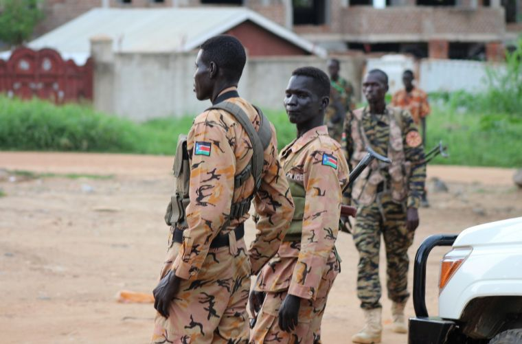 South Sudanese policemen and soldiers in Juba
