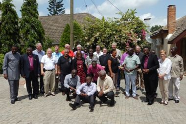 Some of the 24 bishops and support staff pose for a group photo in Accra, Ghana, at the 7th Consultation of Anglican Bishops in Dialogue.