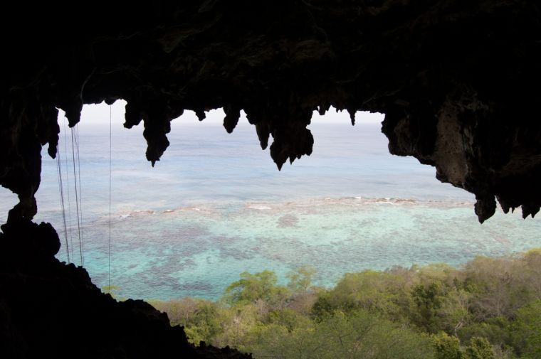 View from a cave on Isla Mona