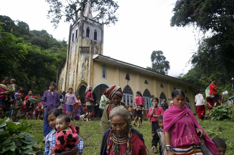 The end of mass at a Catholic church at Htaykho village in the Kayah state, Myanmar, last year.