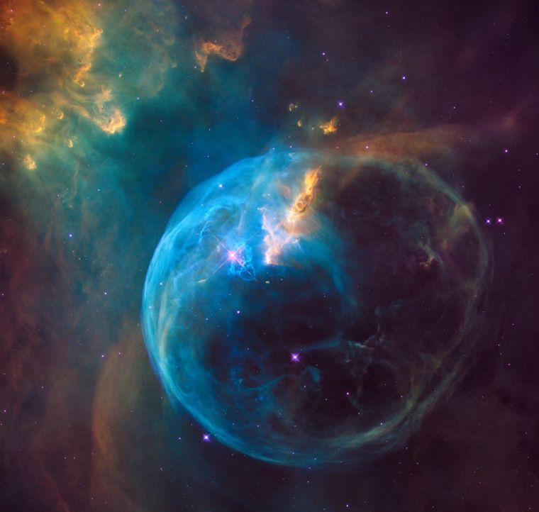 The Bubble Nebula in an image captured earlier this year by the Hubble Space Telescope.