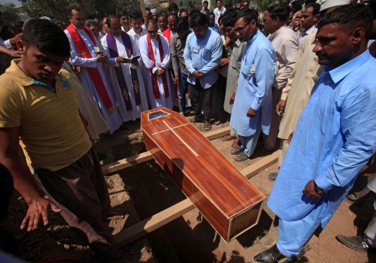 Christians face regular persecution in Pakistan. Here, relatives attend the burial of Samuel Sardar, who was killed after suicide bombers attacked a Christian neighbourhood in Khyber Agency last, during a funeral in Peshawar.