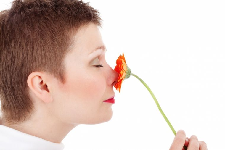 Adult smelling flowers