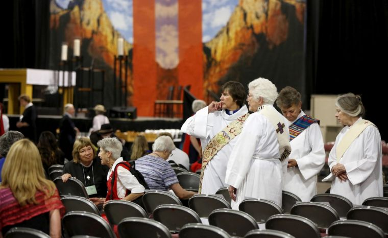 In decline: People arrive for a church service during the General Convention of the Episcopal Church in Salt Lake City, Utah in June 2015.