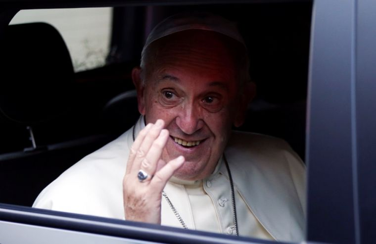 Pope Francis aboard car in Georgia