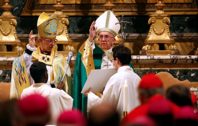 Pope Francis and the Archbishop of Canterbury at Vespers