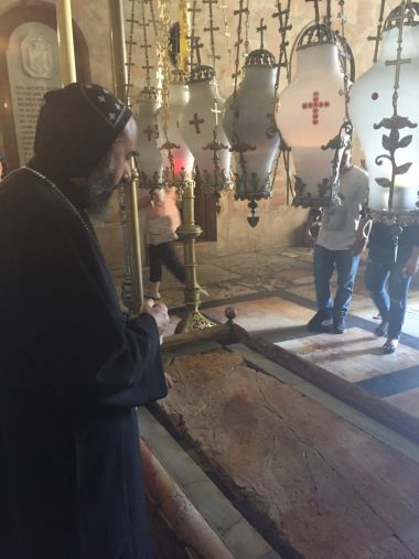Bishop Angaelos in the Church of the Holy Sepulchre in Jerusalem
