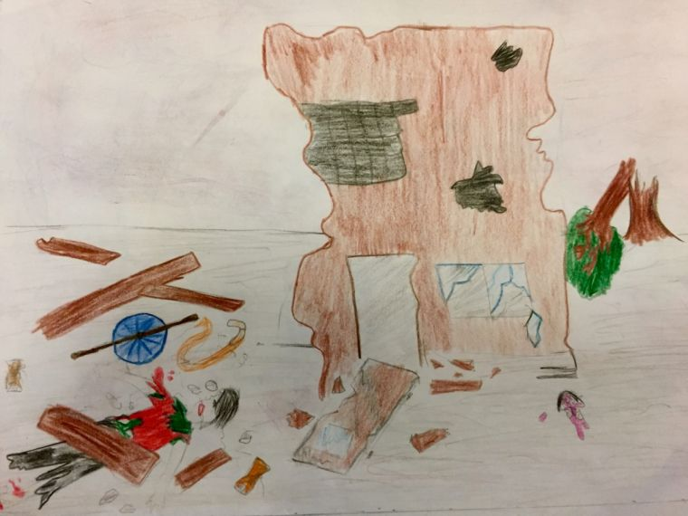 A Syrian child's drawing of life in his home city of Aleppo