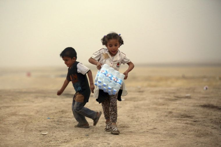 Children who fled Mosul
