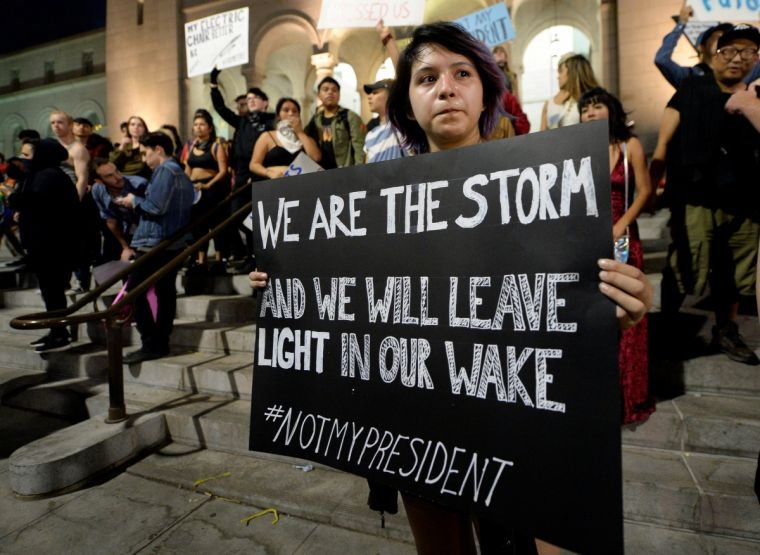 America saw another night of protests against the election of Donald Trump