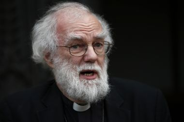 Rowan Williams, former Archbishop of Canterbury, on the steps of Croydon Minster in south London last month.