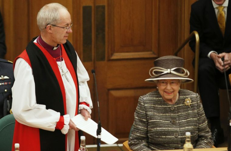 The Archbishop of Canterbury and the Queen.