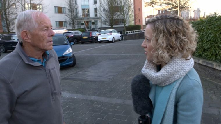 John Smyth is confronted by Channel 4's Cathy Newman