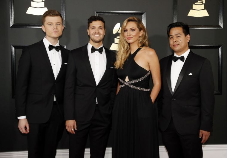 Members of the musical group Hillsong Young & Free arrive together at the 59th Annual Grammy Awards in Los Angeles