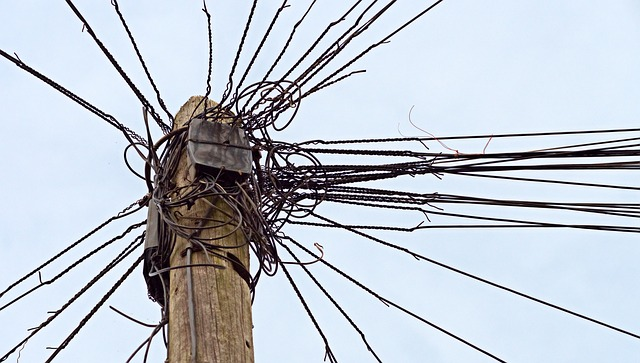 Stressing sight - telephone wires on a pole