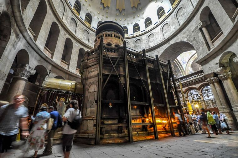 The Edicule, which houses the tomb of Jesus