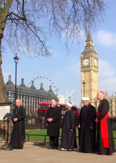 The Archbishop of Canterbury prayers with faith leaders after the London terror attack
